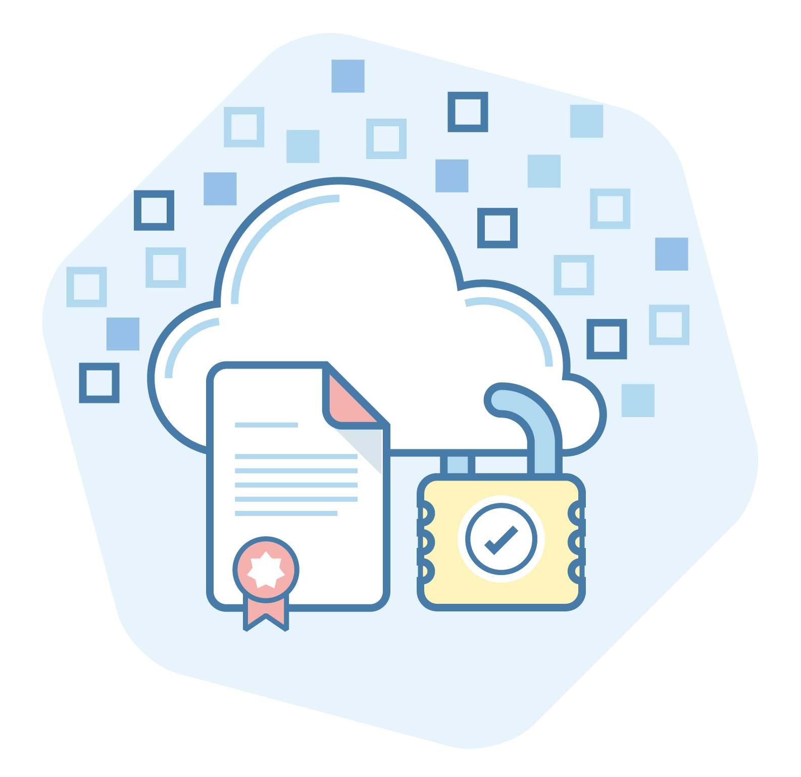 Security padlock on a cloud with a compliance certificate