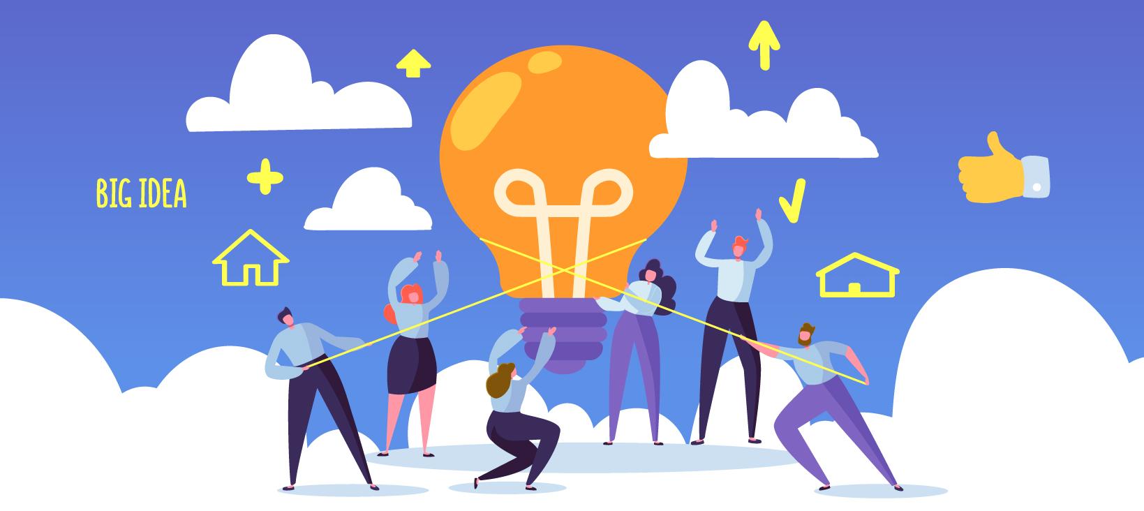 Big lightbulb with team of people celebrating ideas