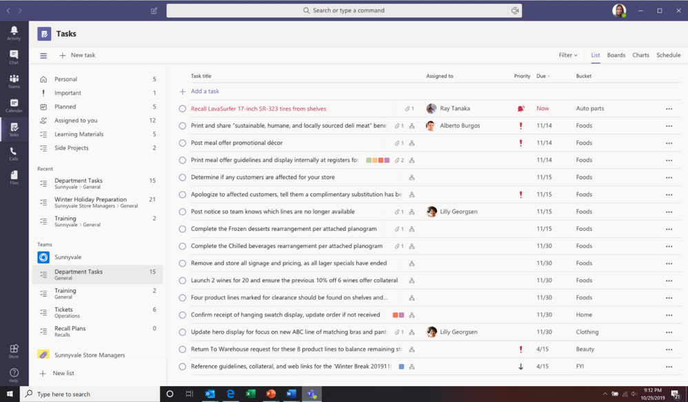 New Tasks window in Microsoft Teams