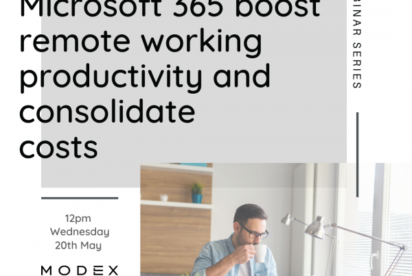 How Teams & Microsoft 365 boost remote working productivity and consolidate costs banner with man working from home drinking coffee