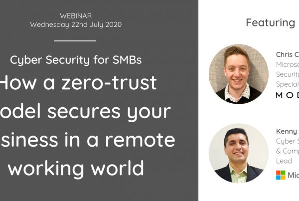 Event banner: How a zero-trust model secures your business in a remote working world featuring a photo of two male presenters, Chris Chambers from MODEX and Kenny Singh from Microsoft