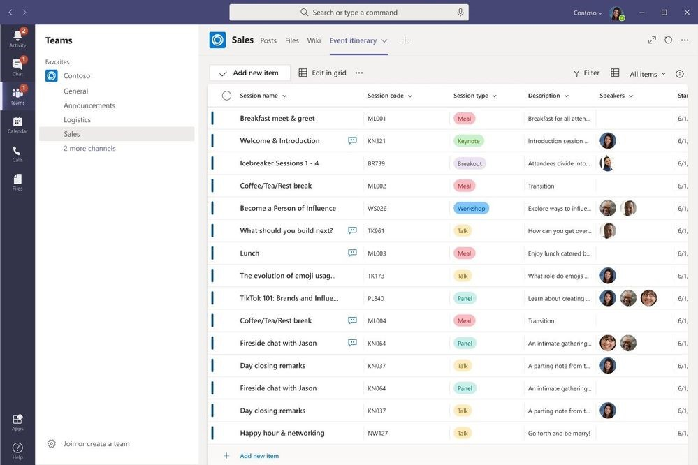 Lists in Microsoft Teams