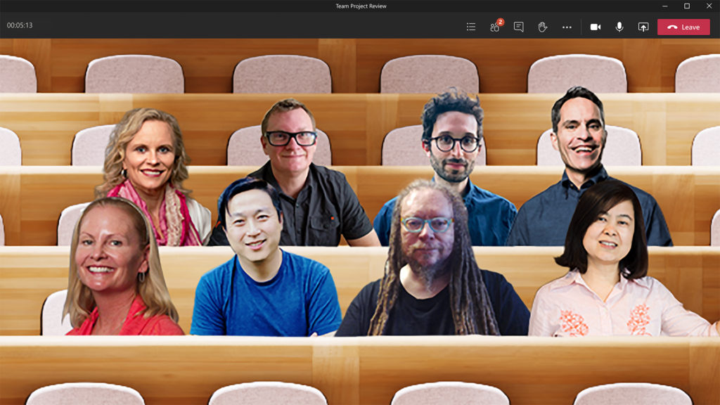 Teams Together Mode preview - a virtual lecture theater with video cutouts of participants in the seats